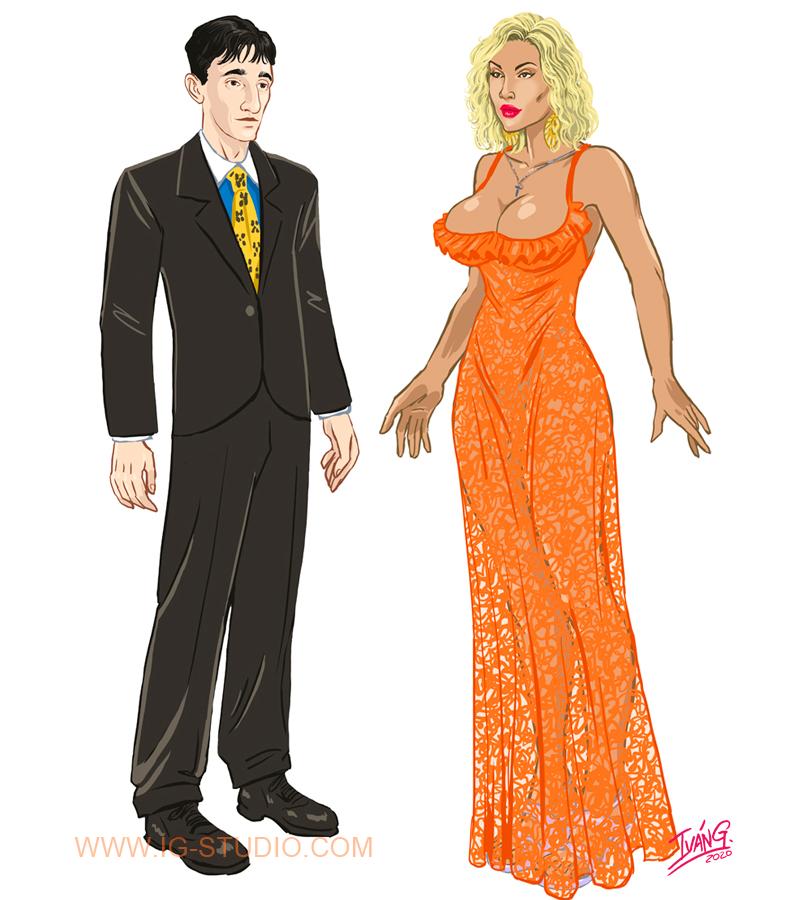 Diseños de personajes para animación incluída en la serie Veneno.